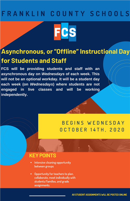 Beginning This Wednesday, October 14, Wednesdays Will Be Asynchronous for All Students
