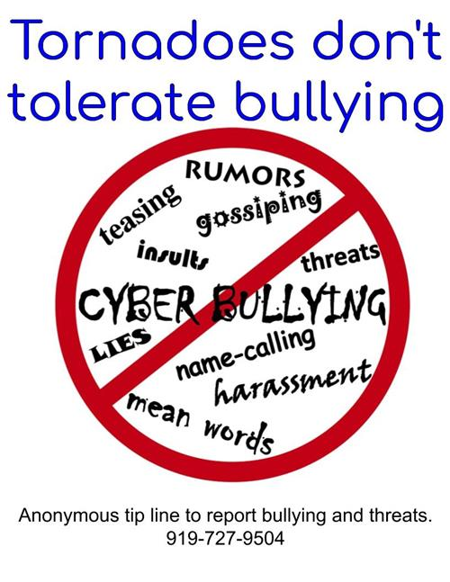 anti bullying sign and tip line 919-727-9504