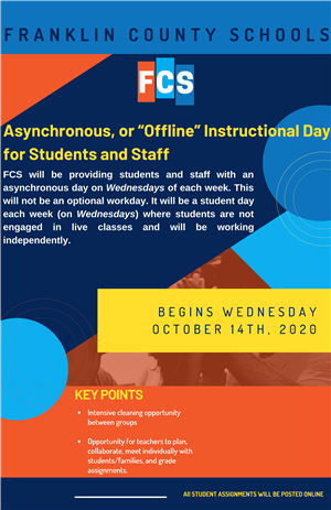 "Asynchronous, or ""Offline"" Instructional Day begins Wednesday, October 14"