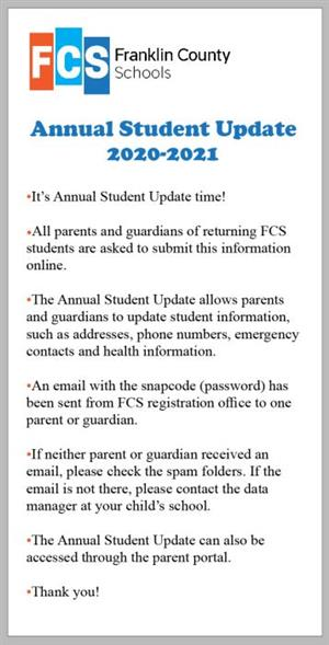 Graphic about the Annual Student Update