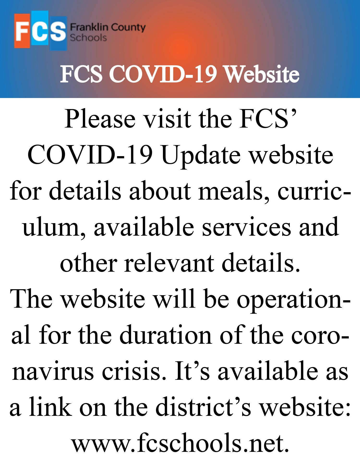 FCS' COVID-19 Updates Website