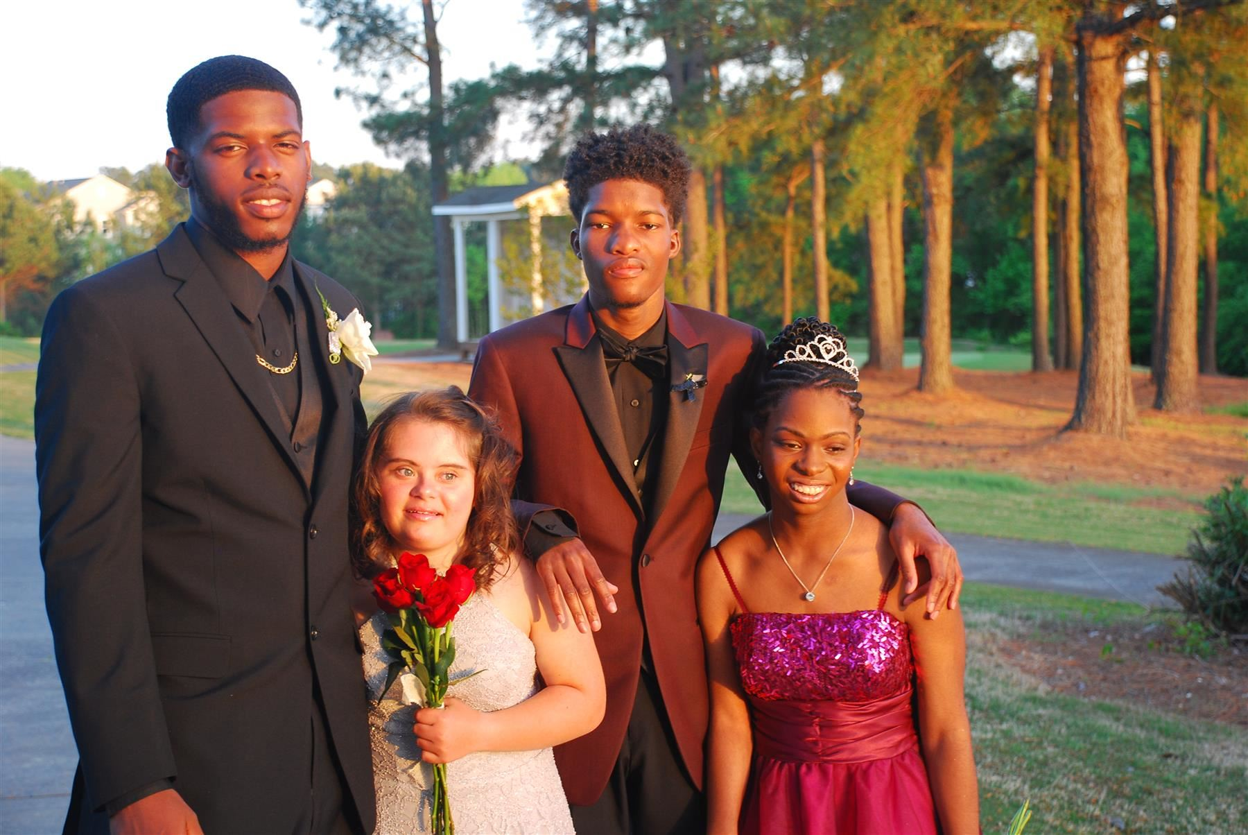 Four students ready to go to prom.