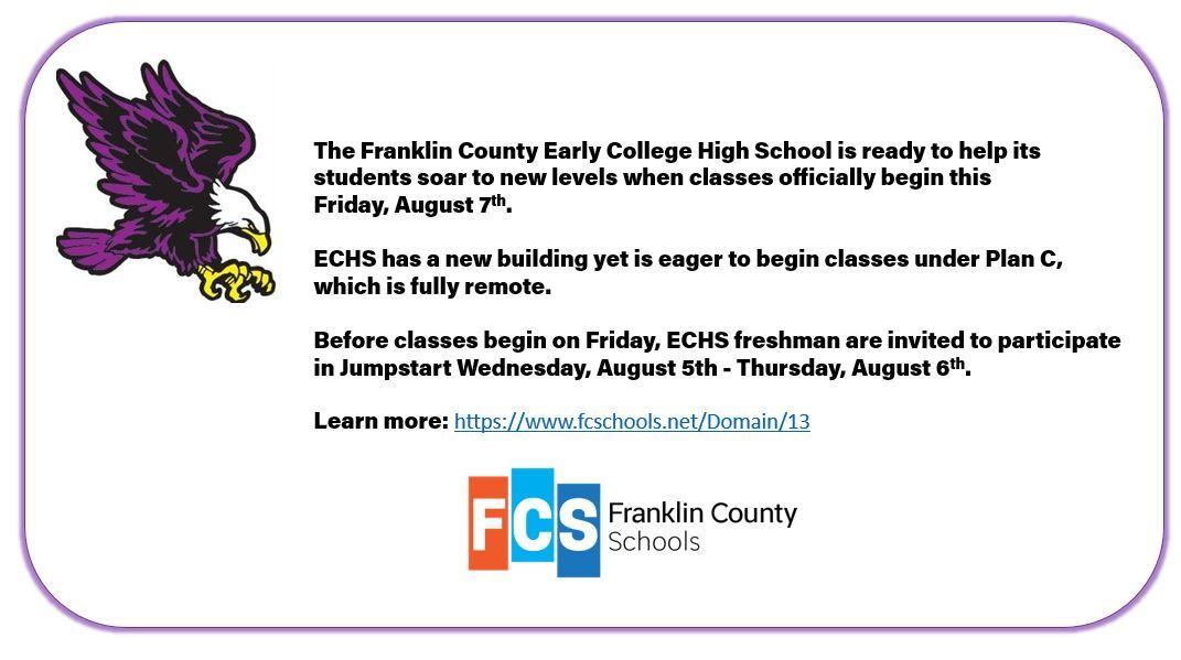 Franklin County Early College High School Starts Classes August 7th