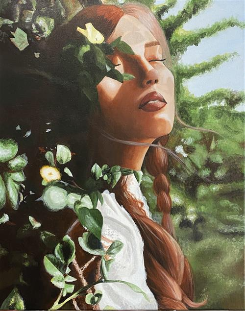 painting a lady with her eyes closed in the sun and surrounded by green vegetation