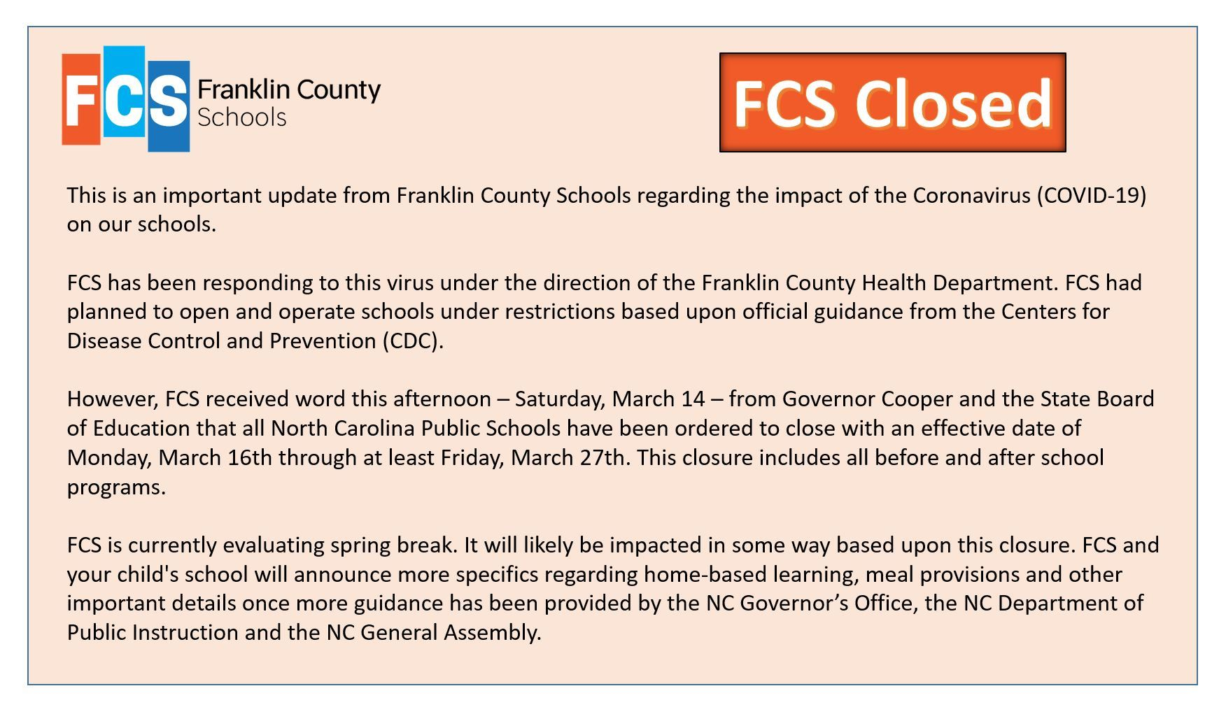 A notice of closure for Franklin County schools