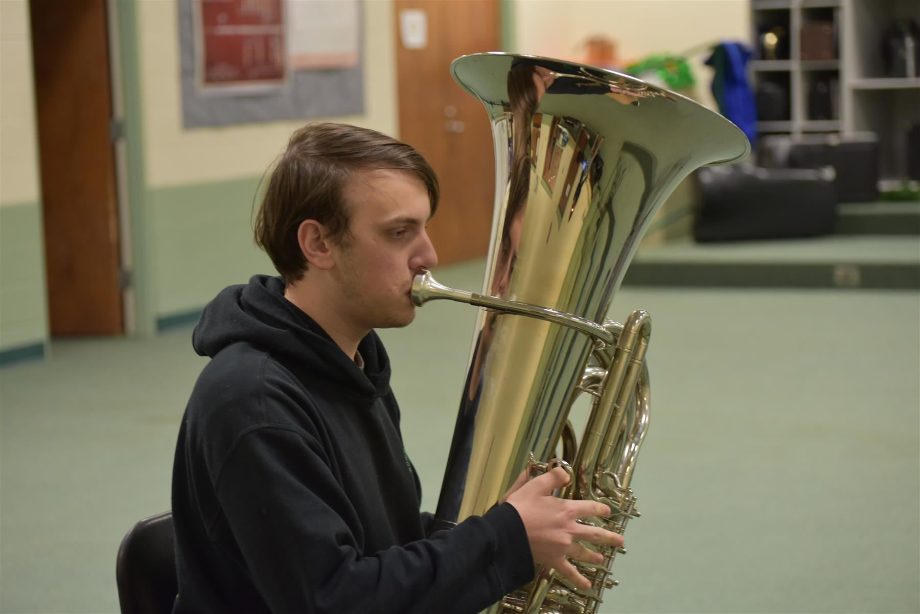 Student playing the Tuba.