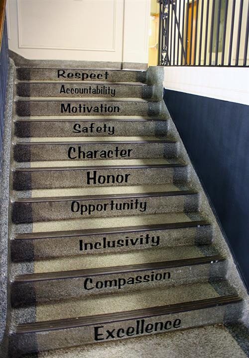 10 steps leading up with different inspiring words: Excellence, Compassion, Inclusivity, Opportunity, Honor, Character, etc.