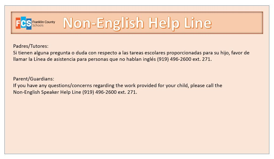 a notice about a non-English help line