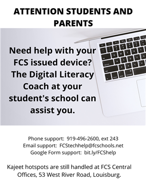 Graphic about technical assistance for student devices