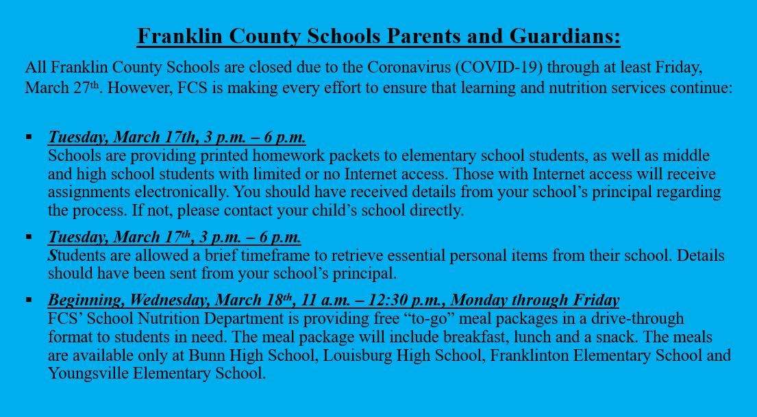 Franklin County Schools schedule for homework, essential items, meal pickups