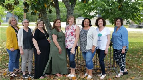 Photo of Franklin County School Nurses.  From left, Jessica, Kathy, Emily, Tammy, Megan, Lisa, Marla, Sandy